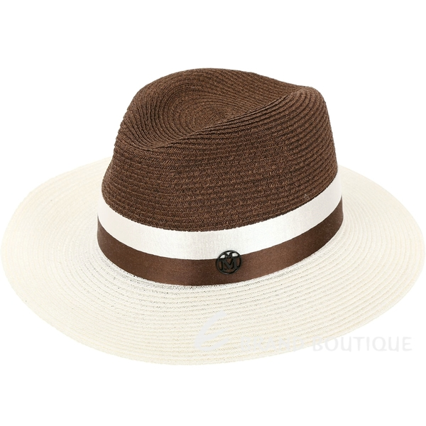 Maison Michel HENRIETTA 羅緞綢帶寬檐亨麗埃塔草編帽(米咖) 1830067-07
