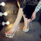 拖鞋女夏時尚 外穿超高跟細跟防水台透明水晶鞋一字拖14cm試衣鞋 亞斯藍