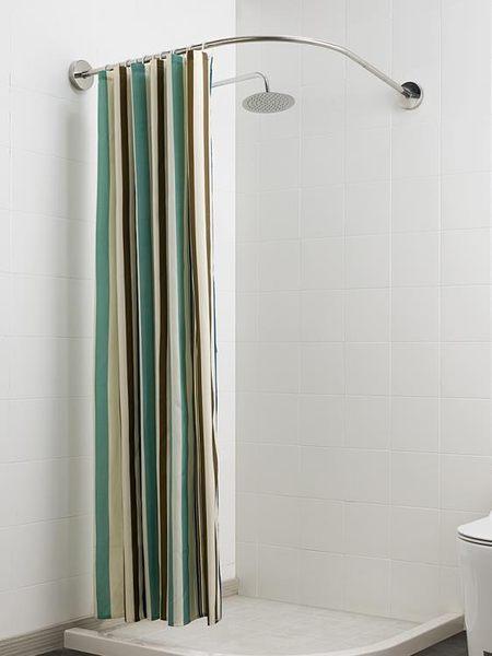 浴簾免打孔伸縮弧形浴簾桿衛生間掛簾布浴室隔斷簾子防水 衣間迷你屋