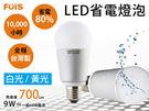 台灣製造FOIS高流明 9W LED燈泡 白光黃光  《SV3653》快樂生活網