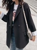 小西裝外套女潮薄款韓版春秋港味小香風黑色西服寬鬆網 花樣年華