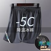 涼感運動短褲男士速干褲籃球透氣夏季薄款寬鬆休閒五分冰絲褲【風之海】
