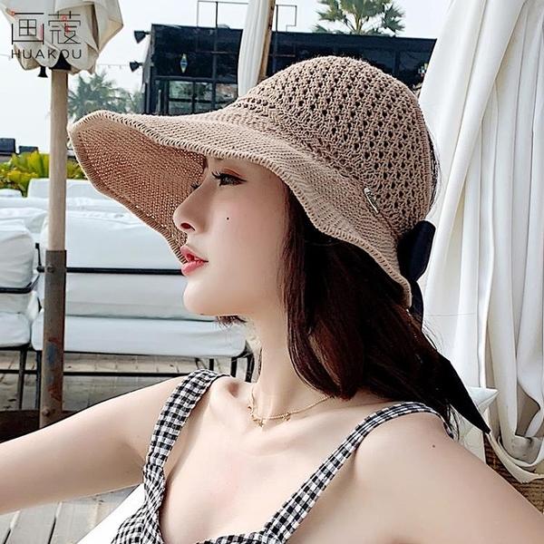 牛仔帽草帽子女夏天韓版防曬空頂卷卷遮陽帽沙灘百搭防紫外線遮臉太陽帽 嬡孕哺