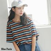 藍色巴黎~休閒百搭撞色條紋胸前口袋寬鬆短袖上衣T 恤~2 色~~28203 ~