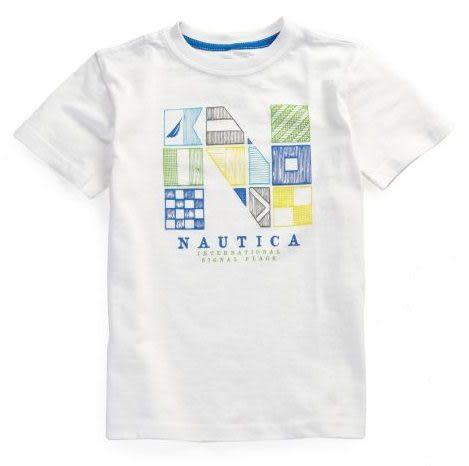 Nautica短袖上衣 白色Logo設計款短袖T恤
