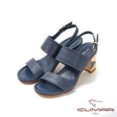 【CUMAR】普羅旺斯莊園- 復古撞色兩截式一字帶粗跟涼拖鞋(藍色)