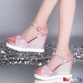 楔形涼鞋 10cm增高 涼鞋 坡跟 中高跟 伊人閣