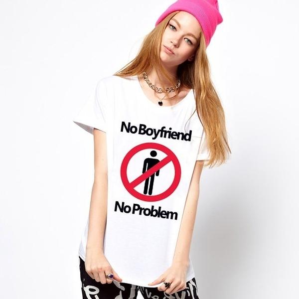 No Boyfriend No Problem短袖T恤-白色 沒有男朋友沒有問題 設計 自創 品牌 時髦 圓 三角形