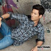 BIG TRAIN 法蘭絨格襯衫-男-藍色