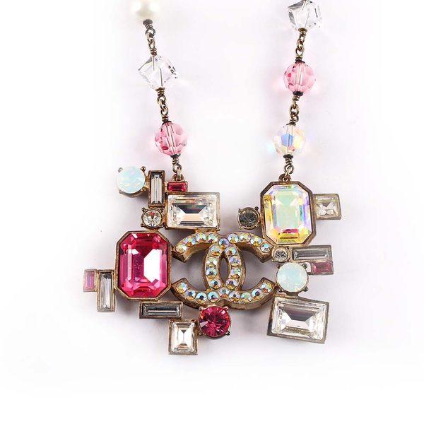 【CHANEL】粉色寶石造型CC LOGO項鏈 CH42000008