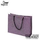 手提袋-編織方袋(L)-黑粉紫千鳥-01C