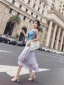 套裝女夏2018新款韓版荷葉邊拼接針織吊帶 高腰不規則網紗半身裙