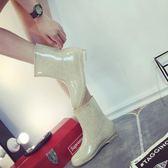 春秋韓版雨鞋女夏保暖加絨水鞋女士中筒雨靴套鞋防滑洗車廚房水靴 橙子