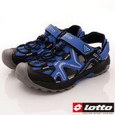 【LOTTO】水陸悍將排水護趾涼鞋-LT7AMS5186-藍-男段-0