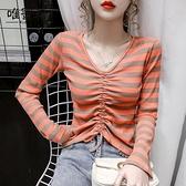 2021早秋季新款針織打底衫內搭長袖V領t恤女顯瘦抽繩條紋短款上衣 Korea時尚記
