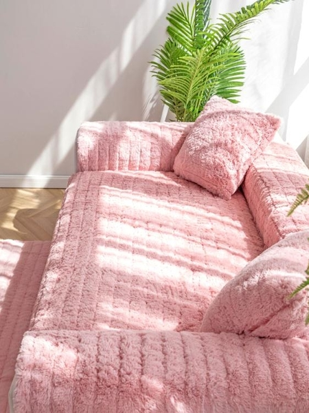 毛絨沙發墊冬季加厚布藝防滑客廳坐墊冬天毛毛絨北歐網紅皮沙發套 秋季新品