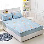 天絲-特大平單式涼蓆/軟蓆枕套組-貓與少年藍 / 哇哇購