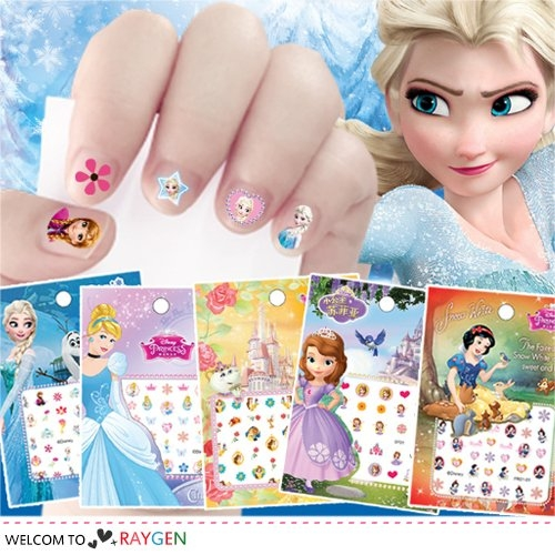 迪士尼正版兒童指甲貼紙 冰雪奇緣2 公主系列 史迪奇 美甲貼 買10送1
