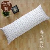 精梳純棉 系列 - 抱枕靠枕 四尺(大) [春天格紋] 長枕 可拆洗 寢居樂台灣製