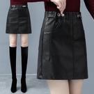 a字半身裙秋冬女皮裙2020新款時尚短裙顯瘦顯高百搭一步包臀裙子【快速出貨】