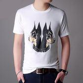 短袖T恤 男士t恤修身圓領男衫3D印花卡通圖案T恤《印象精品》t1081