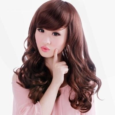 假髮(長髮)-甜美可愛捲髮斜瀏海女假髮2色73em83【時尚巴黎】