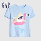 Gap 男幼童 童趣風格印花圓領短袖T恤 584370-澈空藍
