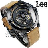 Lee 透視 自動上鍊機械錶 皮帶 男錶 黑色x棕 LES-M55DBL5-1G 鏤空機械錶