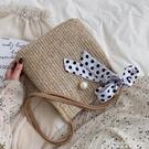 個性編織小包包女新款潮韓版百搭側背斜背時尚絲巾草編包 黛尼時尚精品