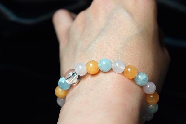 【喨喨飾品】海藍寶/粉晶/黃玉 色彩能量 開運手鍊 A583