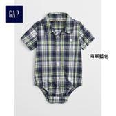 Gap男嬰兒 可愛格紋短袖包屁衣 336508-海軍藍色