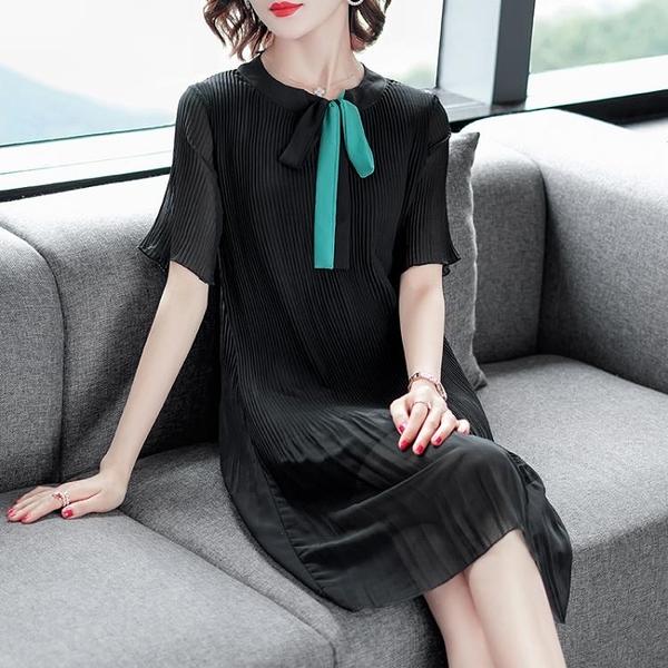 M-4XL胖妹妹大碼洋裝連身裙~女減齡壓褶連身裙中長裙ME076衣時尚
