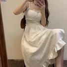 短袖洋裝 SEVEN77 白色吊帶裙女2021年春夏新款法式開叉連身裙子少女 新品新品