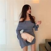 露肩洋裝 收腰顯瘦洋裝新品氣質長袖高腰小個子a字短裙子仙女裝 - 風尚3C