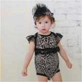 公主飛袖包屁衣 純棉 立體裝飾 女寶寶 爬服 哈衣 附帽子 2件套 豹紋款 Augelute Baby 42133
