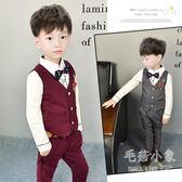兒童小西裝馬甲三件套韓版潮新款花童禮服     SQ9422『毛菇小象』
