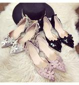 韓版甜美百搭顯瘦尖頭單鞋女高跟鞋3cm 中空花朵低跟小細跟伴娘鞋限時大優惠!