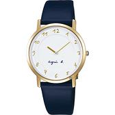 agnes b. 法國時尚簡約手錶-白x金框x藍/34mm 7N00-KEX0B(BG4020P1)