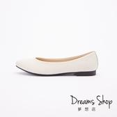 大尺碼女鞋-夢想店-MIT台灣製造職場有型真皮素面尖頭平底鞋1.5cm(41-48偏小)【JD2601】白色