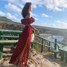 復古波西米亞波點荷葉邊抹胸一字領上衣 高腰長裙套裝 沙灘度假裙