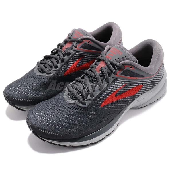 Brooks 慢跑鞋 Launch 5 灰 紅 透氣網布 避震 男鞋 運動鞋 【ACS】 1102781D014