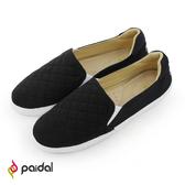 Paidal 簡約格子繡線平底樂福鞋懶人鞋-黑