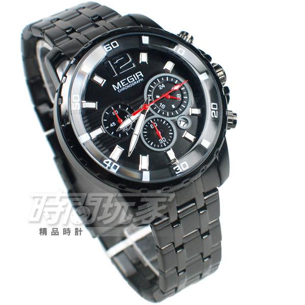 MEGIR 固執 大錶徑真三眼時尚男錶 防水手錶 日期顯示 合金錶帶 IP黑電鍍x紅 ME2068槍黑