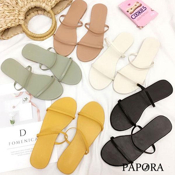 PAPORA平底涼拖鞋K242黑/米/黃/綠