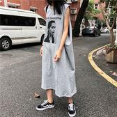 夏季2018新款酷酷的女裝帥氣街頭下衣失蹤T恤裙寬鬆背心連衣裙女 草莓妞妞
