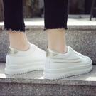 新品厚底百搭小白鞋中大尺碼正韓楔型迷你休閒鞋
