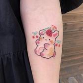 10張|刺青貼 櫻桃彩虹色兔兔可愛少女紋身貼【極簡生活】