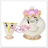 ♥小花花日本精品♥ Hello Kitty 迪士尼美女與野獸 茶壺媽媽 茶壺杯子 茶杯具組 阿齊杯子 11270607
