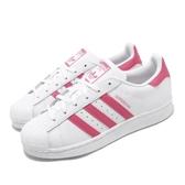 adidas 休閒鞋 Superstar J 白 粉紅 女鞋 大童鞋 運動鞋 貝殼頭 【PUMP306】 CG6608