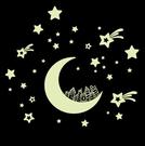 ►壁貼 夜光貼房間佈置 兒童卡通月亮房子星光螢光貼  DIY隨意貼 發光牆貼紙【A1008】